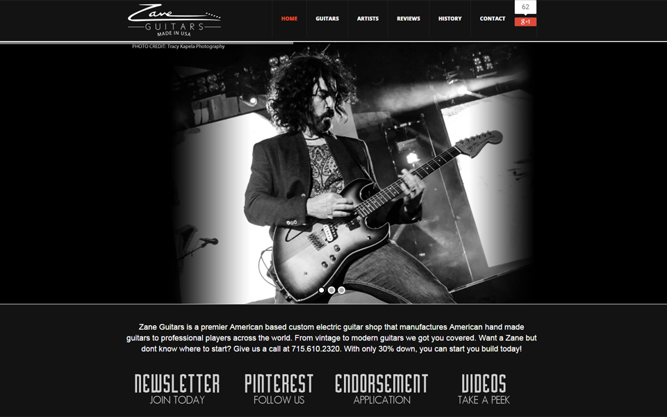 Zane Guitars Website Design / Marketing / Branding