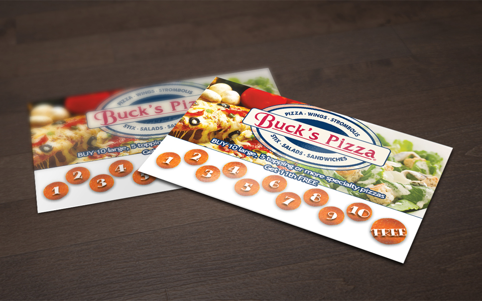 Bucks Pizza Business Punch Cards