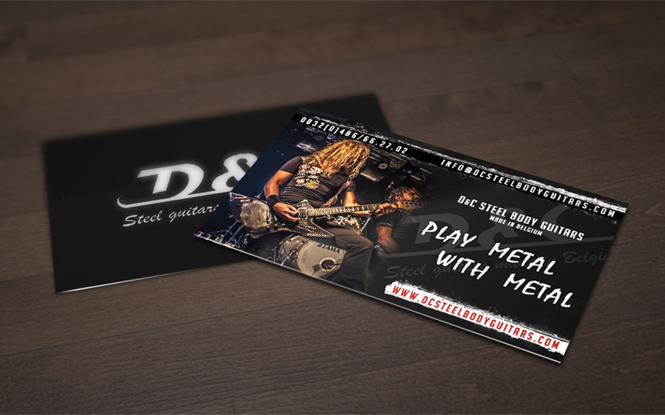 D and C Steel body Guitars Business Card Design
